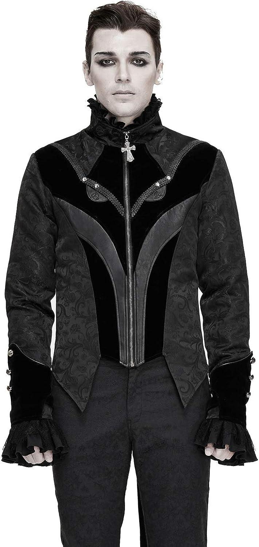 Gothic Jackets for Men Party Tuxedo Dress Suit Black Jacquard Cross Zipper Mens Coat