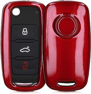 kwmobile Autoschlüssel Hülle kompatibel mit VW Skoda Seat 3 Tasten Autoschlüssel   Hardcover Schutzhülle Schlüsselhülle Cover in Hochglanz Rot