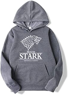 Game of Thrones Wolf Fashion Thin Hoodies Cotton Hip Hop Sweatshirts Winter Is Coming Black/Pink Clothing