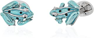 Deakin and Francis Sterling Silver Blue Frog Cufflinks