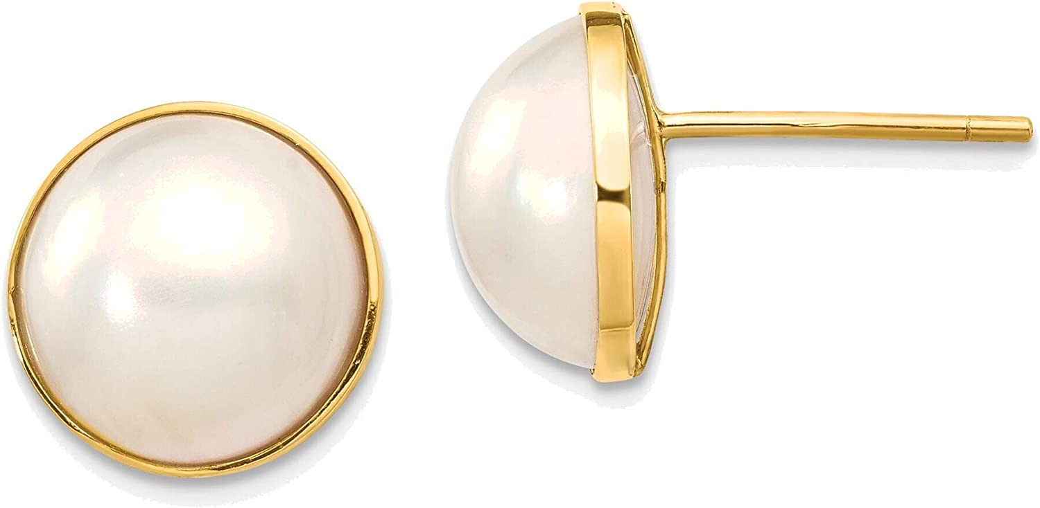 9-10mm White Freshwater Cultured Mabe Pearl Post Earrings in 14K Yellow Gold