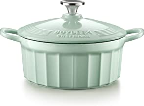 BUYDEEM CP521 3 Quart Dutch Oven, Enameled Cast Iron Dutch Oven with Stylish Cupcake Design, Round French Oven, Perfect fo...