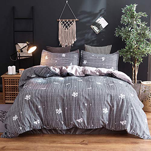 BH-JJSMGS Flower pattern bedding and pillowcases-fade-resistant and stain-resistant, printed microfiber duvet cover, 200 * 230CM (three-piece set) C