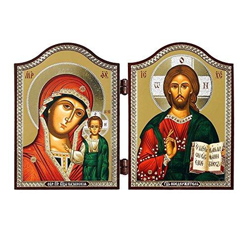 NKlaus 1449 GM von Kazan & Jesus Christus Ikone Diptychon Kazanskaja i Spasitel'