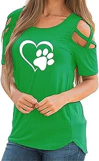 Realdo Womens Tops,Womens Cold Shoulder Crewneck Casual Short Sleeve Splice T-Shirt Loose Blouse