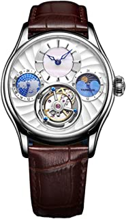 Aesop Men Mechanical Hand-Wind Real Tourbillon Business Dress Moon Phase Luminous Wrist Watch Leather Strap Silver White Brown