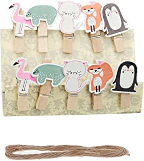 Vpang 50 Pcs Cute Mini Wooden Cartoon Design Pegs Clips Card Photo Holder Clothespins Wedding Decorations with Jute Rope (Animal)