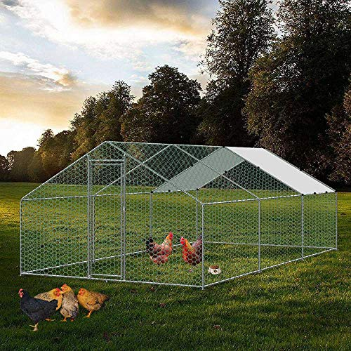 Large Chicken Coop Walk-in Metal Poultry Cage House Rabbits Habitat Cage Spire Shaped Coop with Waterproof and Anti-Ultraviolet Cover for Outdoor Backyard Farm Use (9.8' L x 19.7' W x 6.56' H)