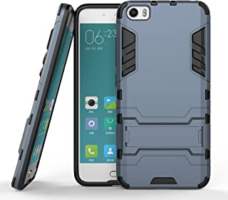 Xiaomi Mi 5 Case, Hybrid Armor Case [2 in 1] Lightweight Hard PC Cover + Flexible TPU Shock Absorption & Scratch Resistant with Kickstand for Xaomi MI 5 (5.15 inches) - Blue Black