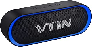Bluetooth Speakers, VTIN R4 Portable Bluetooth Speaker, Bluetooth 5.0 with 24Hrs Playtime, 10W Crystal Clear Stereo Sound, Microphone, Support TF Card, Waterproof Speaker for Home and Outdoors