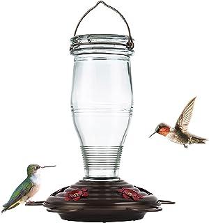 BOLITE 18006 Hummingbird Feeder, Vintage Bottle Glass Hummingbird Feeders for Outdoors, 25 Ounces