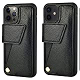 ZVEdeng Wallet Case for iPhone 12 Pro Max and iPhone 12/12 Pro Card Holder Case with 180° Rotational Card Slot Shockproof Leather Magnetic Flip Case-Black