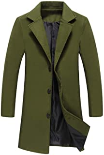 Winter Men Solid Color Single Breasted Long Trench Coat/Men Casual Slim Long Woolen Cloth Coat Large Size 5XL