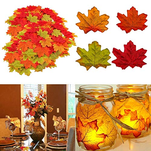 MUSCCCM Autumn Decorations, 400 Pcs Assorted Mixed Fall Colored Artificial Maple Leaves for Thanksgiving, Autumn Events and Outdoor Maple Leaf Cafe Decoration