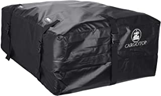 CARTOP Cargo Bag, Waterproof Cargo Bag Easy to Install Soft Rooftop Luggage Carriers Works with or Without Roof Rack (15 Cubic feet) (Black)