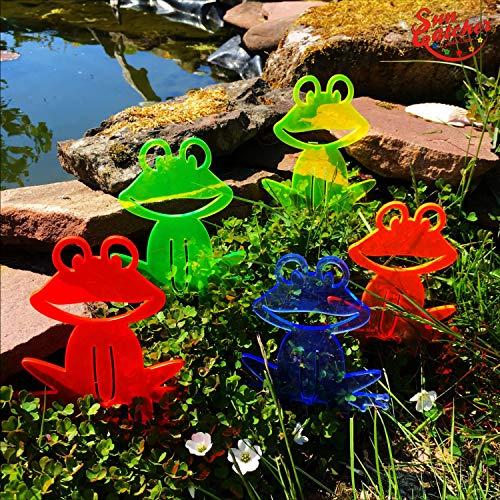 SunCatcher Sonnenfänger Happy Frogs | 15cm hoch | Fluoreszierende Gartenstecker für Garten, Beet und Teich Dekoration, Farbe:alle Farben (5)