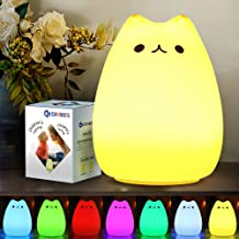 CHWARES Portable LED Children Night Light Kids Multicolor Silicone Cat Lamp, Warm White &7-Color Breathing Dual Light Mode...