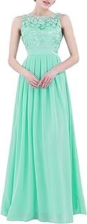iiniim Mujer Vestido Largo Floreado de Fiesta Boda Vestido Vintage Retro Elegente Dama de Honor de Novia Encaje Traje de G...