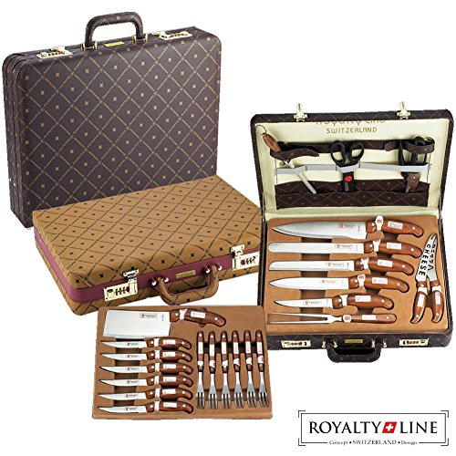 Royalty Line Valigetta Coltelli e Posate in acciaio Inox super affilati 25 pezzi Switzerland Concept Superior Quality RL-K25LB