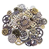 Juland 100 Gram Steampunk Art Supplies DIY Assorted Color Antique Metal Gears Charms Pendant Clock Watch Wheel Machine Cog for Necklace Bracelet Anklet Crafts and Jewelry Making