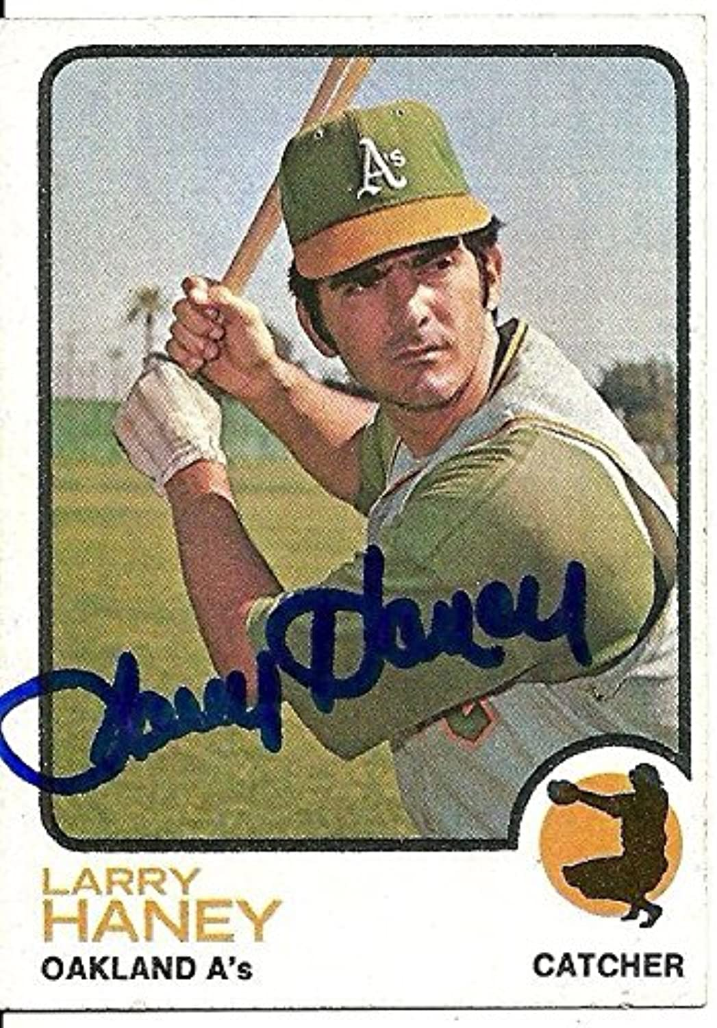 Larry Haney Oakland Athletics Signed Autographed 1973 Topps Card  563 W coaBaseball Slabbed Autographed Cards