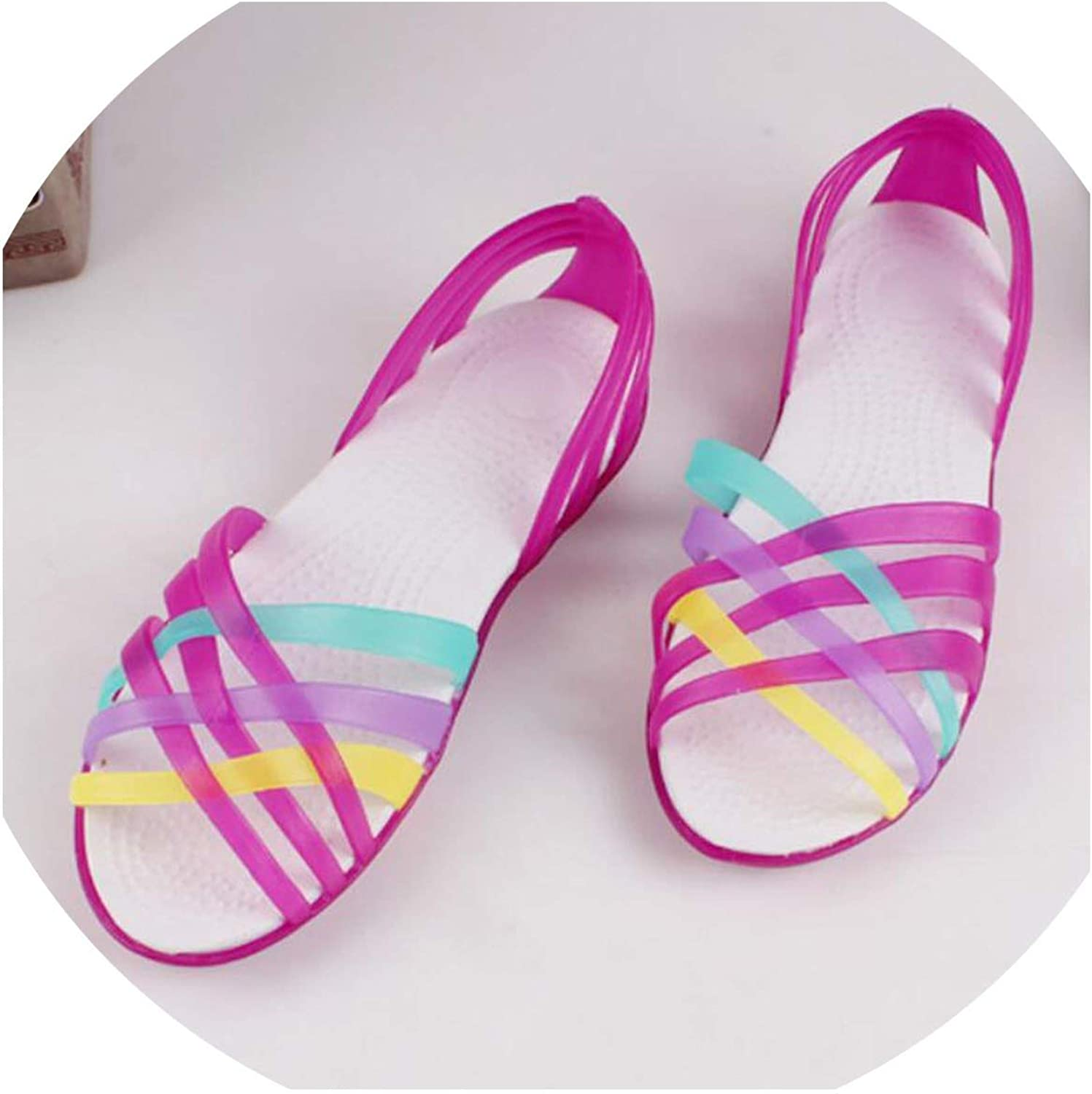 Summer Jelly Women Flat Sandals Peep Toe Beach shoes Ladies Slides Candy Rainbow Flats Sandalia