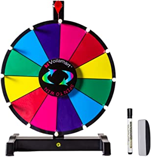 "Voilamart 12"" Tabletop Spinning Prize Wheel 12 Slots with Durable Plastic Base, Dry Erase, 2 Pointer, for Fortune Spin Gam..."