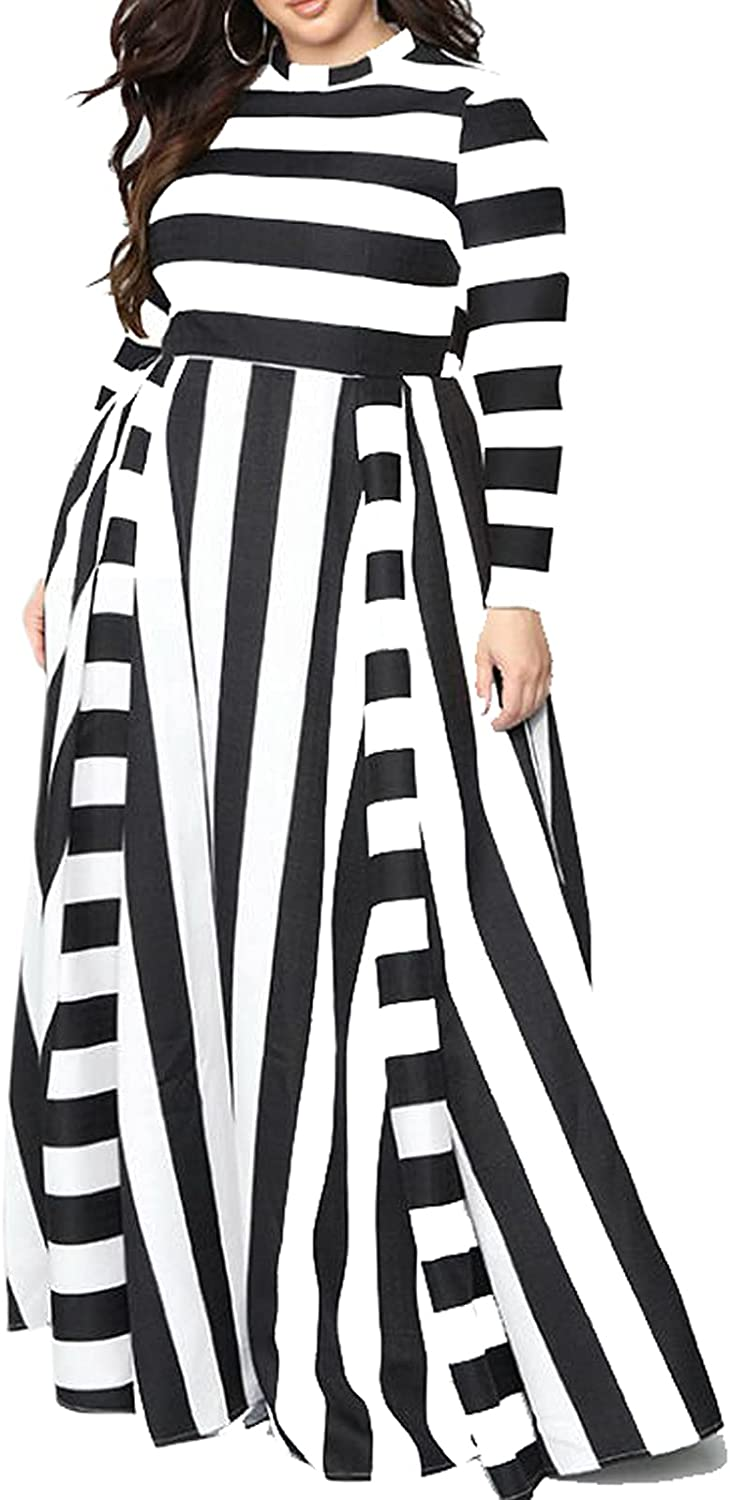 Striped Dress for Women midi Dresses Plus Size Long and Short Sleeves are Optional for All Seasons-F
