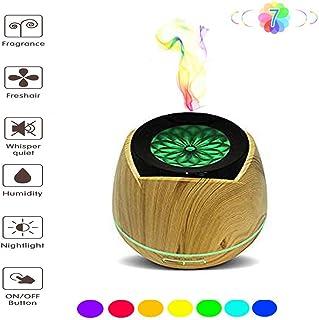 エッセンシャルオイルディフューザー - ウッドグレイン超音波ディフューザー - アロマテラピー加湿器 - タイマーとオートオフセーフティスイッチ - 7 LEDライトカラー