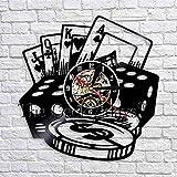 UIOLK Reloj de Pared de decoración de Dados de póquer Reloj de Vinilo Colgante Negro diseño de Reloj decoración de Interiores
