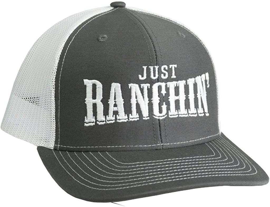 Dale Brisby Mens Just Ranchin/White Cap Adjustable Charcoal