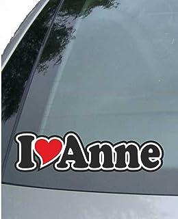 INDIGOS UG   Aufkleber/Autoaufkleber I Love Heart   Ich Liebe mit Herz 15 cm   I Love Anne   Auto LKW Truck   Sticker mit Namen vom Mann Frau Kind