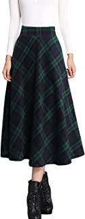 Women's Elastic Waist A-Line Pleated Wool Plaid Long Skirt