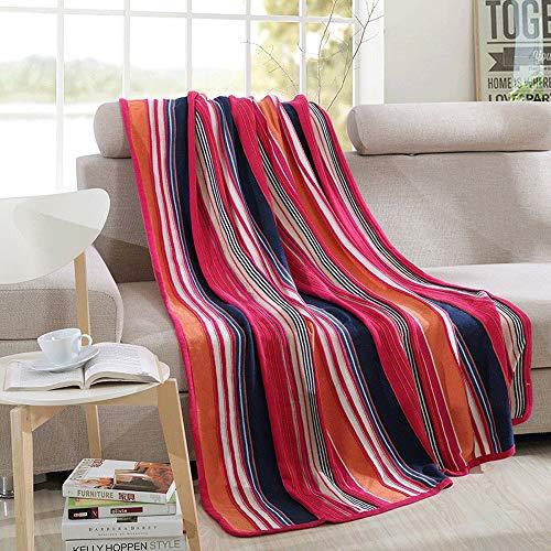 YIJIAHUI-Home Manta de sofá Raya de Colores Manta de Tiro de Punto Sofá Suave Sofá Manta de decoración Multifuncional Manta de Ocio Manta de Siesta Manta de Viaje 135cmx180cm