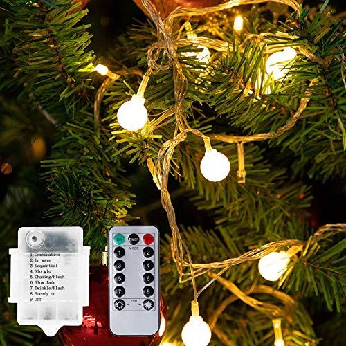 Mitening 100 LED Kugel Lichterkette 10 Meter, Warmweiße Lichterkette Außen 8 Lichtermodi Fernbedienung Batteriebetriebene Wasserdicht Weihnachtsbeleuchtung für Innen Zimmer Party Garten Balkon Deko