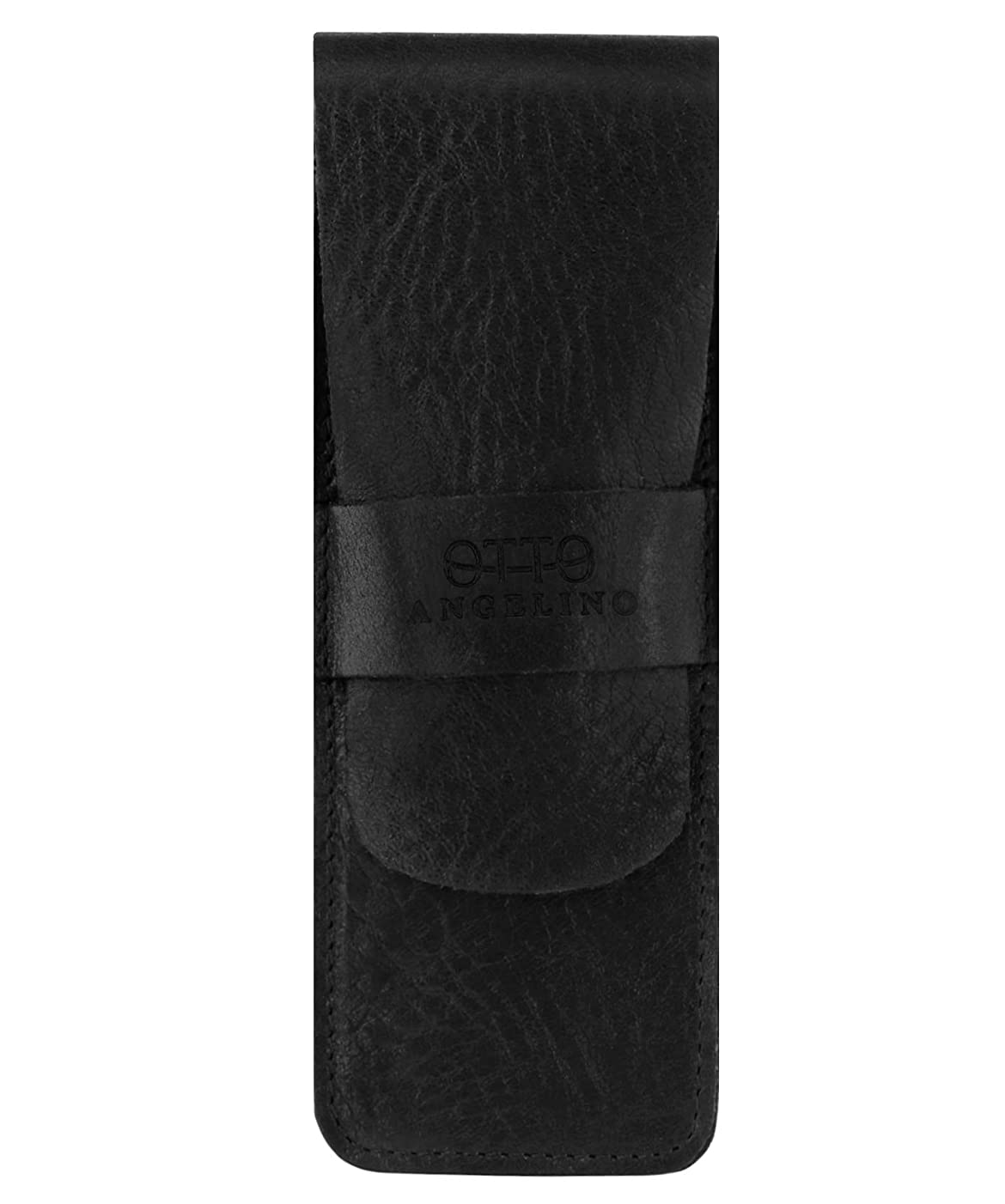 Otto Angelino Genuine Leather Pen Case with Sleeve Cover, Pencil Pouch Stationery Bag (Black)