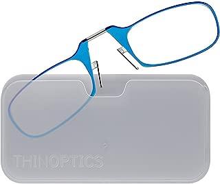 ThinOptics Reading Glasses + White Universal Pod Case | Blue Frame, 1.50 Strength Readers