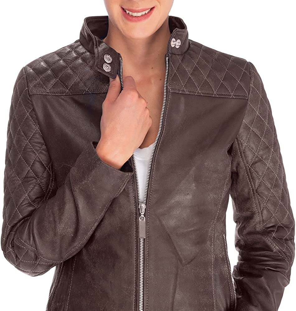 Classic moto jacket featured in dark brown leather fabrication with shoulder and arms quilted stitching detail.