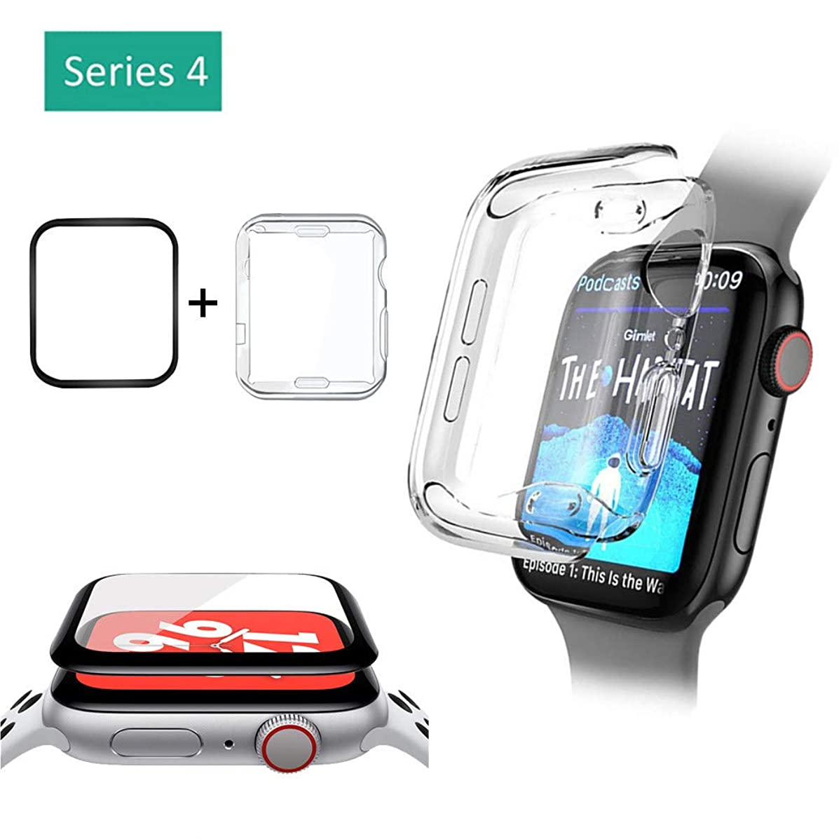 Sandistore Compatible with Apple Watch Case 40mm/44mm Series 4,Tempered Glass Screen Protector + Soft TPU Screen Protector All-Around Protective HD Ultra-Thin Cover Case for iWatch Series4