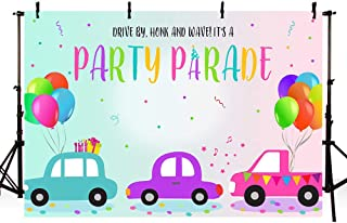 MEHOFOND 7x5ft It's A Party Parade Photography Background Drive by Honk and Wave Quarantine Social Distancing Backdrops Ba...