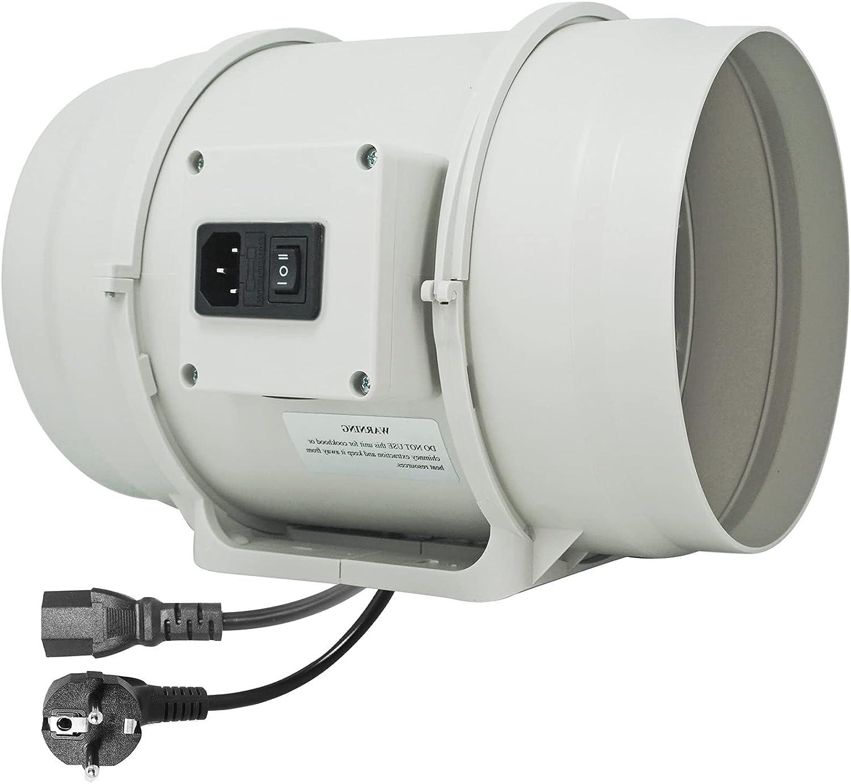 Moonjor Extractor de Aire 200mm Máx.840m³/h con Enchufe IEC de 2-Velocidades, Enchufe de la EU, Ventilador de Conducto para baño, Tienda de Cultivo, Hidroponía - Blanco
