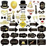 Konsait 40 Anni Compleanno Photo Booth Props, 40 Anni Nero e Faux Oro Buon Compleanno Decorazioni DIY Photo Booth Kit con Bastone per la Festa di Compleanno (53 conteggi)