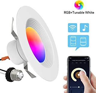 Smart Recessed Lighting - Lumary 5/6 inch WiFi Led Downlight Color Changing Tunable White+RGB 13W(80W Equivalent)1100lm Compatible with Alexa Google Assistant No Hub Required 13W 1100lm (5/6 in WiFi)