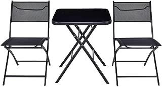 Cypress Shop Outdoor Folding Patio Furniture Set Square Table Chair Suit Garden Set Bistro Backyard Lawn Deck Home Furniture Set of 3