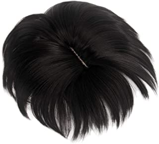 H&B WIG Black Short Toppers Straight Hairpiece Clip in Crown Hair Extensions for Covering White Loss Hair Toupee