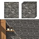 Shikha 10Packs 3D Stick Wallpaper Self-Adhesive Brick Panels Peel for Living Room Bedroom Background Wall Decoration (10, Black Grey Granite Stone)
