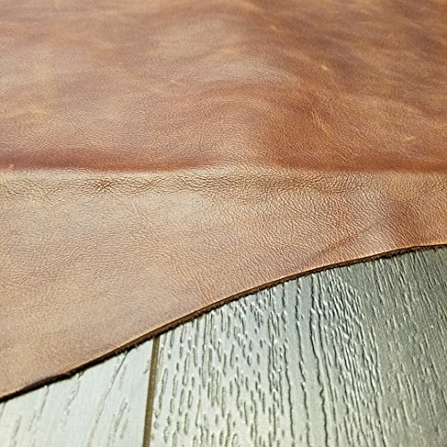 12 inch X 20 inch Cutting Brown Cognac Weekender Two Tone Soft Upholstery Chap Cowhide Genuine Italian Leather Hide Skin (12'x20')