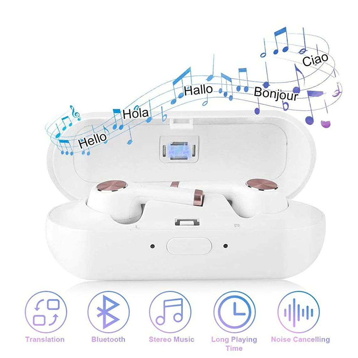 LXYFMS Wireless Language Translator, Earbuds with Charging Box 2-in-1 Bluetooth Headset Device Voice Translation Support 19 Languages Translator