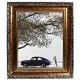 Beyond Your Thoughts Marco de fotos de 20 x 25 cm con cristal HD vintage, con 2 paspartús de 10 x 15 cm y 13 x 18 cm, para fotos familiares con soporte de mesa, color dorado