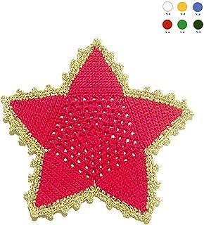 Posavasos en forma de estrella rojo y dorado de ganchillo para Navidad - Tamaño: ø 16 cm - Handmade - ITALY